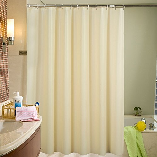 "PEVA Waterproof and Mildew Resistant Shower Curtain Liner with Hooks for Home and Hotel, Beige, 72"" x 78"" (Liner Opaque)"