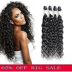 7A Brazilian Natural Wave Virgin Hair 4 Bundles 280g Bundles Brazilian Water Wave Hair Weft Human Hair Extensions (18 18 18 18)