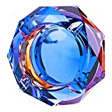 Kufox Crystal Outdoors Indoors Cigarette Ashtray Ash Holder Case, Colorful Pattern Home Office Tabletop Beautiful Decoration Craft (Bling Bling 01)