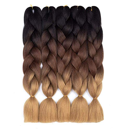 Kanekalon Extensions Synthetic Black Dark Brown Light product image
