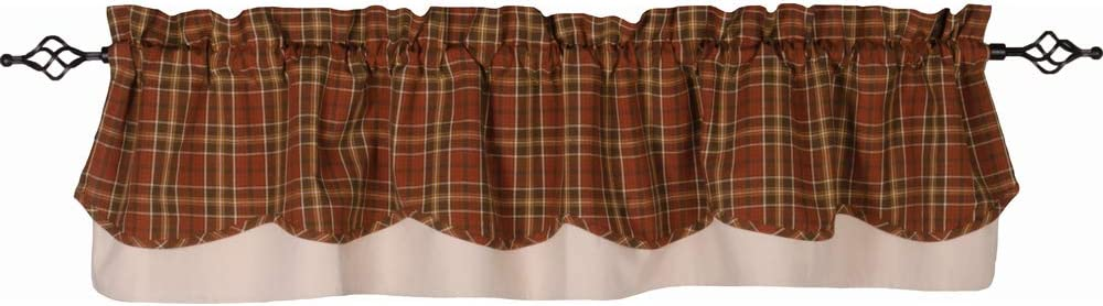 Home Collections by Raghu Orange-Brown Iverness Plaid Fairfield Valance