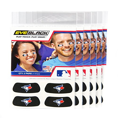 ((24 Strips) Eye Black - Toronto Blue Jays MLB Eye Black Anti Glare Strips, Great for Fans & Athletes on Game Day)