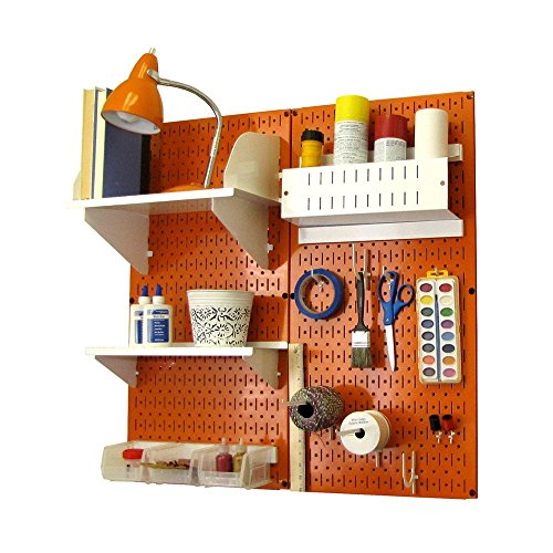 Wall Control 30-CC-200 ORW Pegboard Hobby Craft Pegboard Organizer Storage Kit with Orange Pegboard and White Accessories