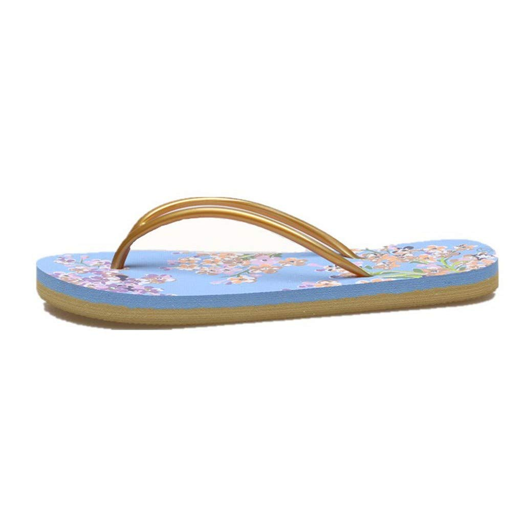 Women Slipper, JHKUNO Spring & Summer Print Floral Flat Flip Flops Casual Indoor Outdoor Sandals Slippers Beach Shoes Blue