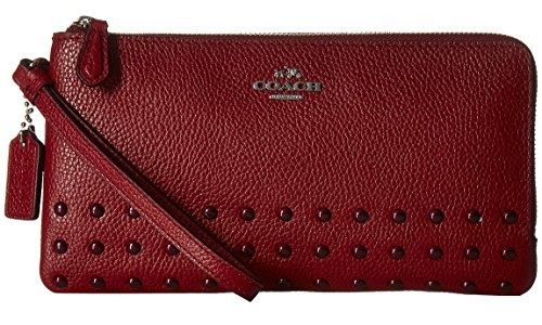 COACH Women's Lacquer Rivets Double Zip Wallet LI/Cerise Checkbook Wallet by Coach