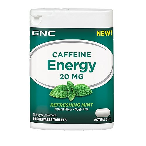 GNC Caffeine Energy Refreshing Mint 60 chew tablets