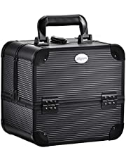 Joligrace Makeup Box Cosmetic Train Case Jewelry Organizer Travel Storage Lockable with Keys and 4 Foldable Trays Portable Tackle Kit Carrying Handle Classy Black
