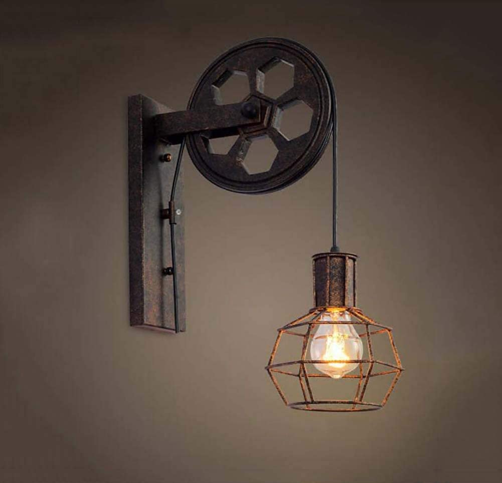 Amazon.com: Creative Retro Industrial Style Wall Lights Loft Style Facelift  Pulley Lights EIS Corridor Lighting (Color: A): Home & Kitchen