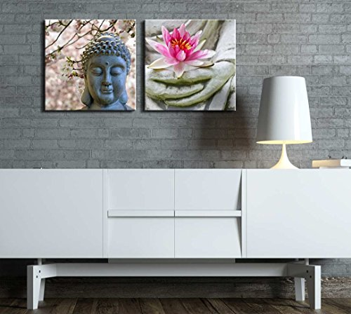 Two Piece Buddha Statue with Cherry Blossoms and a Lotus on 2 Panels