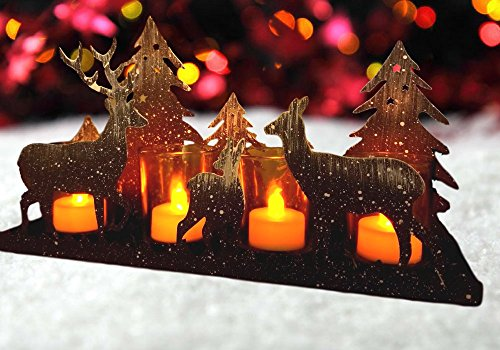 Rustic Candle Holder - Deer Silhouette Candle-Holder - Antique Grey with White 'Snow' Deer and Evergreen Trees - Glass Votive Holder with Metal Forest Cutouts (Candle Rustic Holder Reindeer)