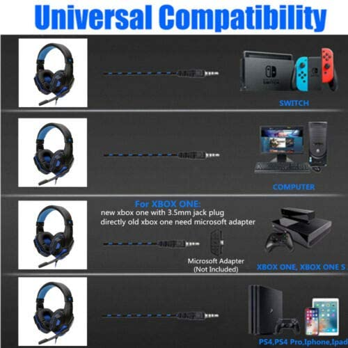 OUYAWEI Top Wired Gaming Headset Headphone for PS4 for Xbox One for Nintend Switch PC red