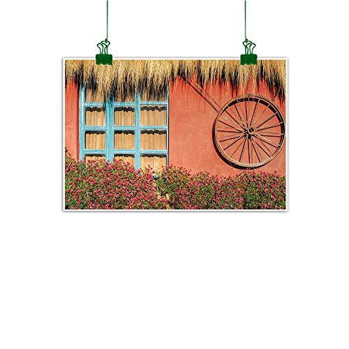Barn Wood Wagon Wheel Room Decor Country House in Ecuador Red Wall Window Summer Flowers Straw Roof Unframed Art Multicolor W 47