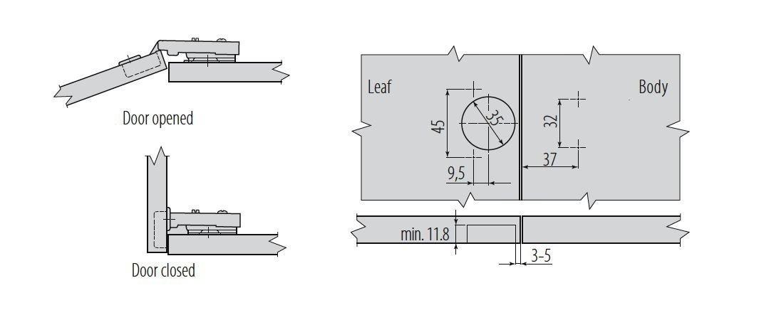 40x Charni/ère /à bo/îtier invisible avec amortissement int/égr/é 35mm