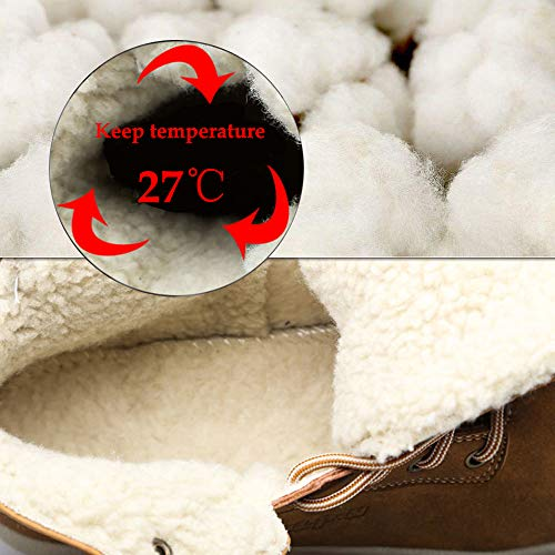 Men's Lining Shoes CEKU Boots Waterproof Outdoor Snow Winter Leather Dark Brown High Fur Hiking Warm Trekking Top dSrScp6FqW
