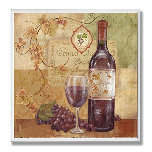 The Stupell Home Decor Collection Red Wine and Grapes Kitchen Wall Plaque