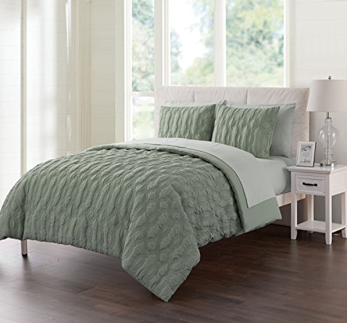 Twin Size Complete BED-IN-A-BAG in Sage Green Luxurious Microfiber 5 Pc Set w/ Sheets