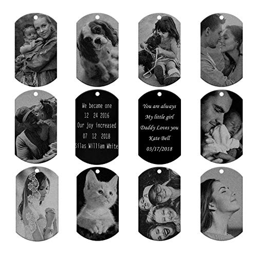 (PiercingJ Personalized Custom Photo Picture Text Engraved Stainless Steel Dog Tags Necklace Message Pendant Customized Valentine's Mother's Father's Day Birthday Gift)
