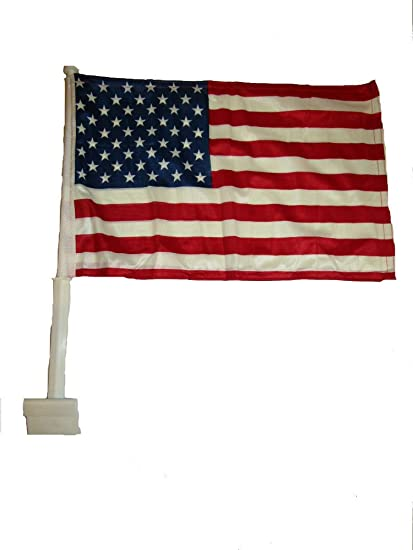 K S Novelties 12x15 5 Usa American Double Sided Nylon Car Window Vehicle 12 X15 5 Flag Premium Vivid Color And Uv Fade Best Garden Outdor Resistant Canvas Header And Polyester Material Flag