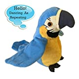 Electronic Stuffed Talking Plush Animals Pets Toys Parrot, Talking Parrot Electric Plush Cute Mimicry Pet Animal Repeating Toy Stuffed Animals Toys for Kids Boys Girls Toddlers 1 Pack AnyBack Blue