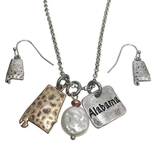 Trendy State Shape Map Charm Dangle Cluster Necklace & Earrings Set (Alabama) (Shape Dangle Charm)