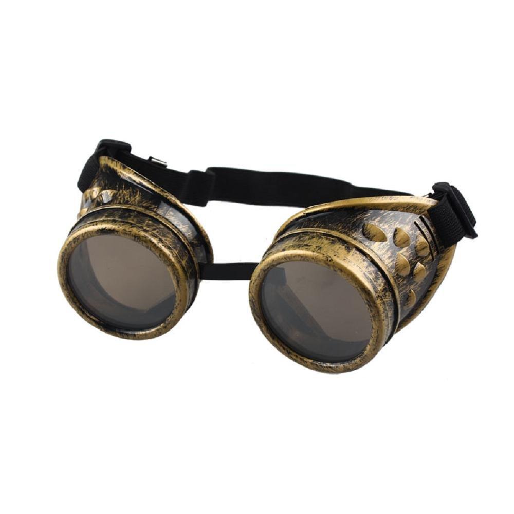 FTXJ Retro Steampunk Goggles Welding Punk Glasses Cosplay (Yellow)
