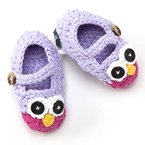 Newborn Infant Baby Boy Girl Crocheted Knit Owl Slippers Booties Shoes Socks (Purple and Hot Pink, 3-6