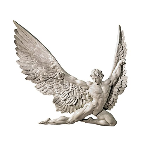 Design Toscano Icarus Winged Man Wall Sculpture, 11 Inch, Polyresin, Ancient Ivory