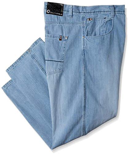 Southpole Men's Big and Tall Relaxed Fit Basic Sand Blasted Core Denim, Light Blue (New), 44