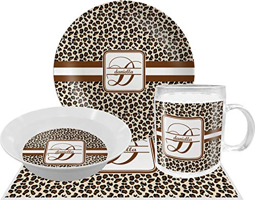 Leopard Print Dinner Set - 4 Pc (Personalized) (Print Cheetah Dishes)