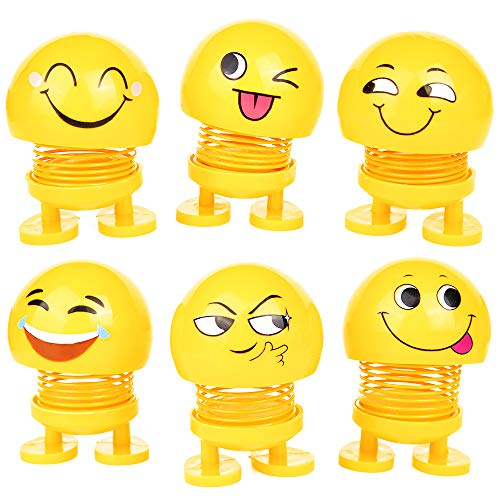 PROLOSO Spring Emoji Shaking Head Dolls Smiley Face Dancing Noddig Toys Theme Party Favors Car Dashboard Table Decoration (6 pcs)]()