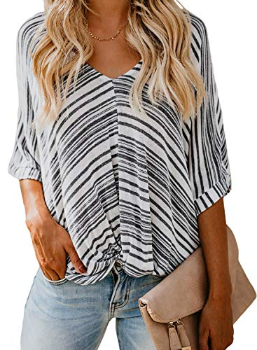 (FARYSAYS Women's Summer Casual V Neck Twist Knot Front Short Sleeve Striped T-Shirts Tops Loose Blouse Black XX-Large)