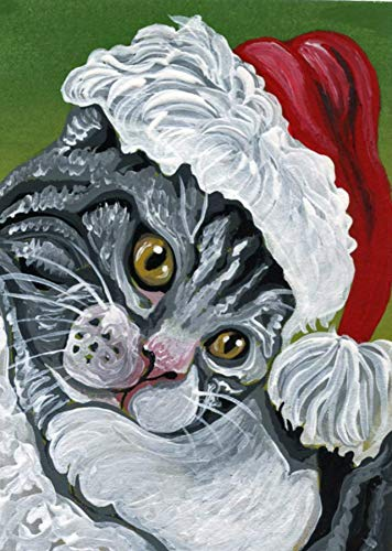 ACEO ATC -free shipping-Christmas Tabby Cat Santa Coat-Original Painting-Carla Smale