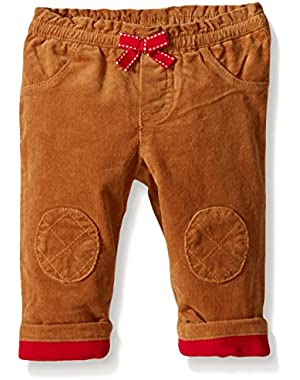Baby-Girls' Tan Quilted Knee Cord Pant