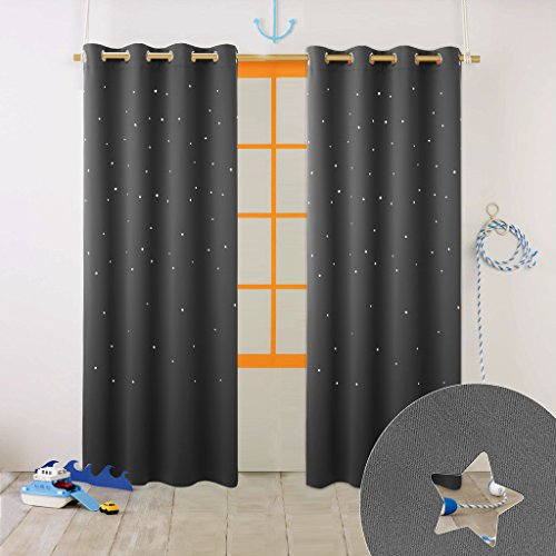 Kids Curtains (Nicetown Naptime Essential Nursery Window Curtains for Kid's Room, Blackout Curtain Panel With Die-cut Stars (1 Panel, W52 x L63-Inch,)