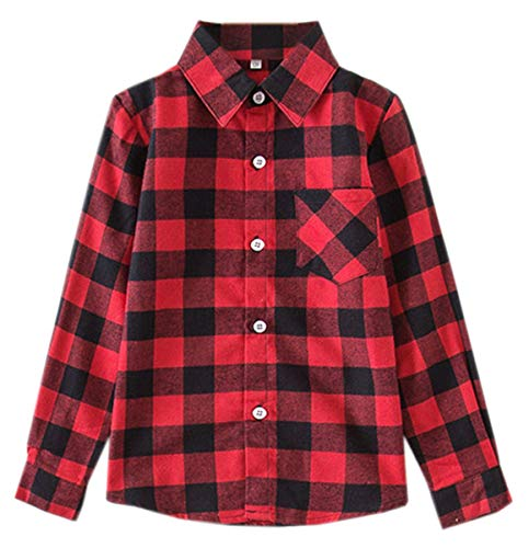 Kids Girls Long Sleeves Button Down Gingham Plaid Flannel Shirt Tops for Toddlers Baby and Little Girls, Girls(E001), 7-8 Years/Tag 140