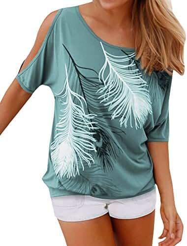 Lovaru Women's O Neck Feather Print Shirt Casual Cutout Sleeve Top Blouse