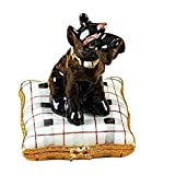 SCHNAUZER ON PLAID PILLOW - LIMOGES BOX AUTHENTIC PORCELAIN FIGURINE FROM FRANCE