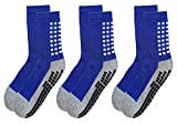 Deluxe Anti Slip Non Skid Slipper Hospital Socks with grips for Adults Men Women Large (Large, 3 pairs-blue)