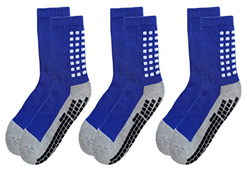 RATIVE Anti Slip Non Skid Slipper Hospital Socks with grips for Adults Men Women (Large, 3 pairs-blue)