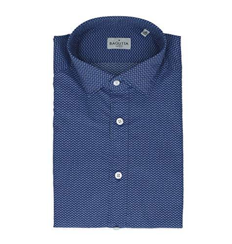 Bagutta Men's Berlinoebl09269653 Blue Cotton Shirt