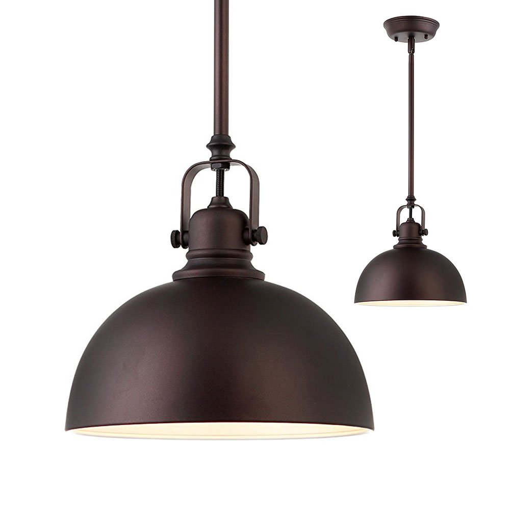 Kitchen and Bar 1 Light Mini Pendant with Oil Rubbed Bronze Metal Shade