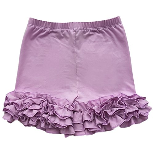 Baby Kid Girls Summer Icing Ruffle Shorts Pants Boutique Cotton Comfortable Bottoms Casual Party Activewear Playwear Lilac 5-6 Years ()