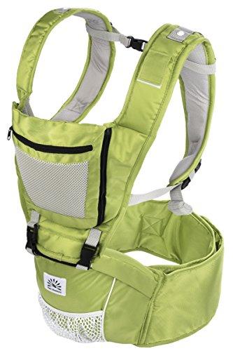 Babi Bambino Best New Baby Ergonomic Carrier Sling Soft Hip Seat Headphone Port and Hood Green
