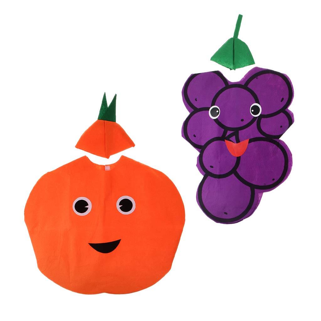 D DOLITY 2X Traje de Naranja UVA Fruta Tela No Tejida Cabritos Una ...