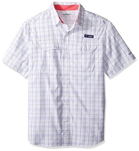 Columbia Men's Super Low Drag Short Sleeve Shirt, Camellia Rose Open Check, Small