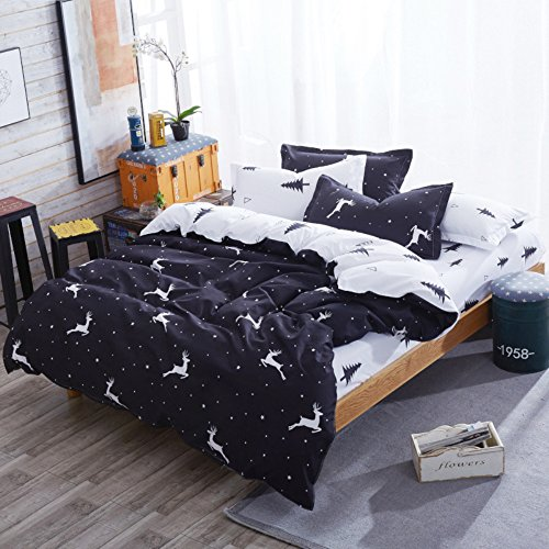 Printed Duvet Cover Sets Twin Size White Black Reversible Deer Pattern Kids Bedding Cover Sets 100 Cotton Bedding Collection Hidden Zipper Closure for Boys Girls ()