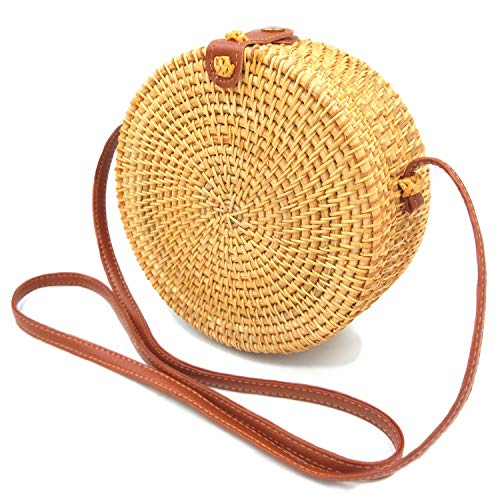 Handwoven Round Rattan Bag for Women Bali Ata Straw Bags Leather Shoulder Strap (Rattan Bali Bags)