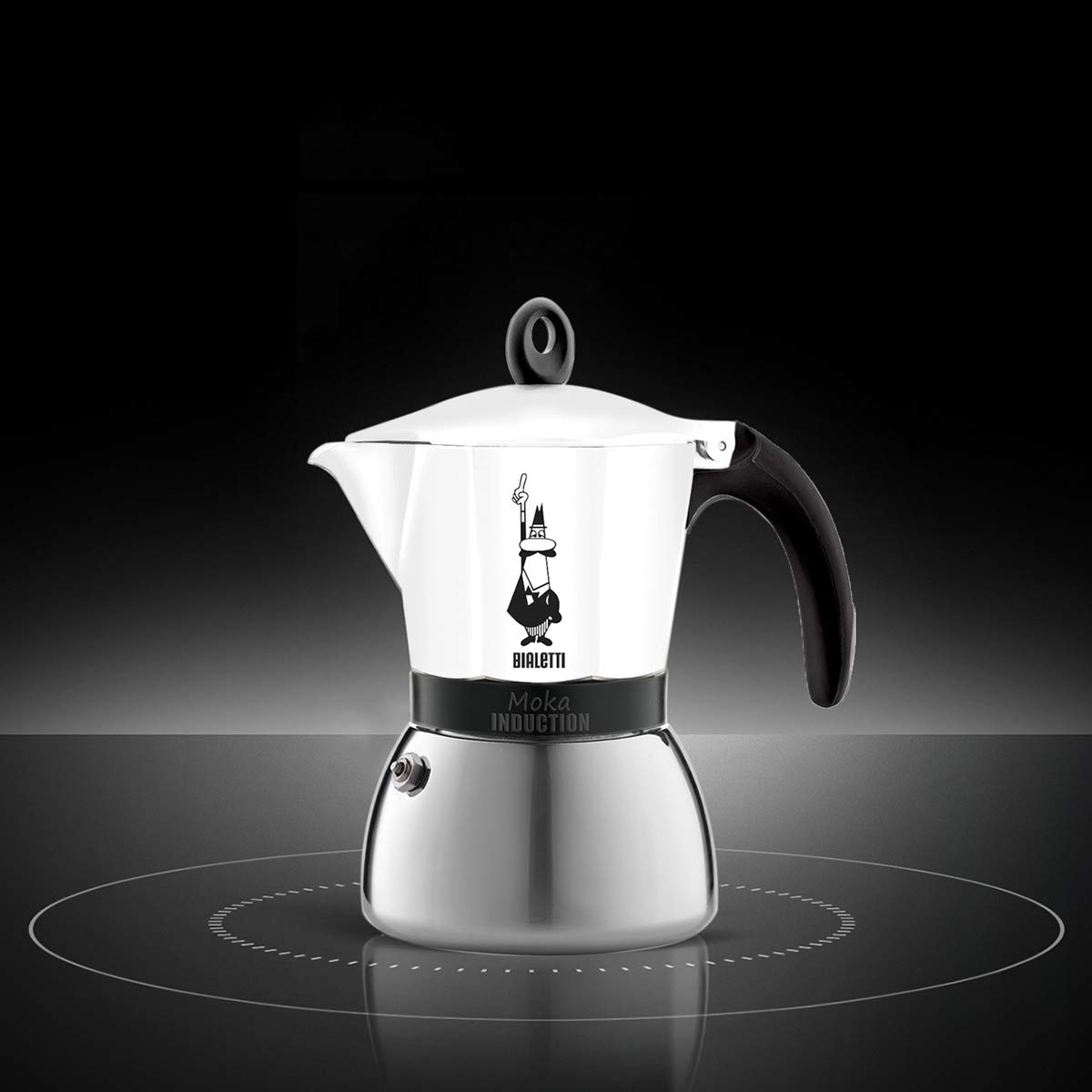 Bialetti Moka Induction, cafetera con base de acero para inducción, color blanco 6 tazas