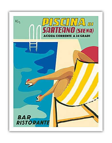 Pacifica Island Art Sarteano Swimming Pool Resort - Siena, Italy - Bar Restaurant (Ristorante) - Vintage World Travel Poster by Athoy c.1959 - Fine Art Print - 11in x 14in by Pacifica Island Art