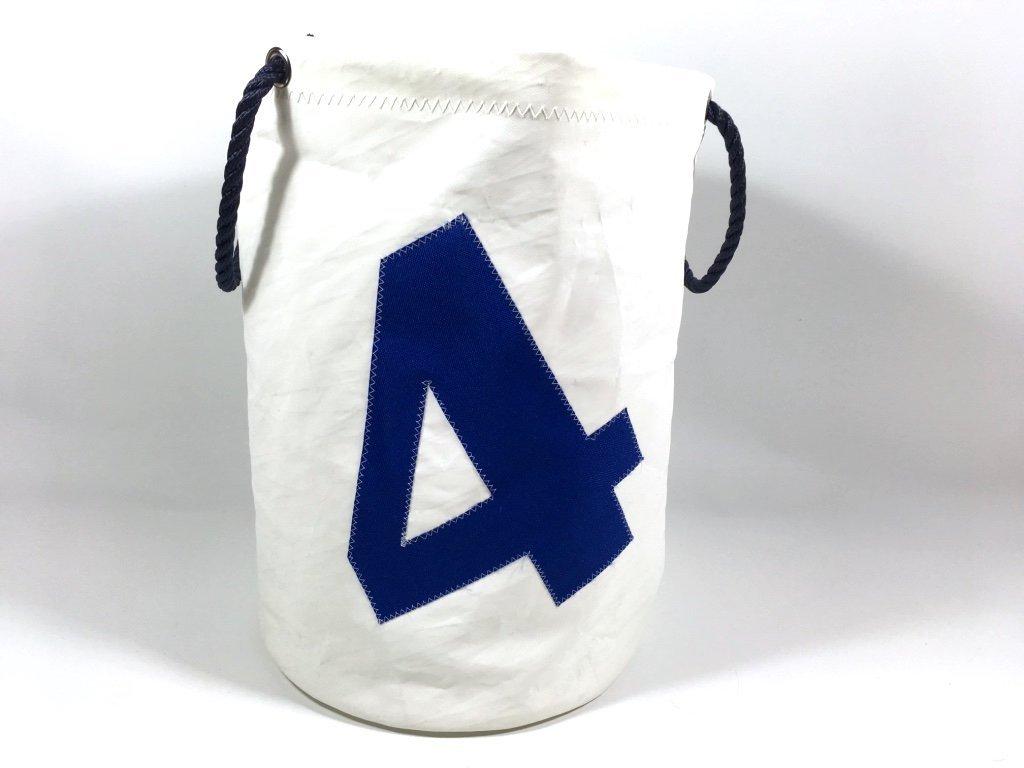 Segeltuch Wäschekorb mit Zahl 4 in blau